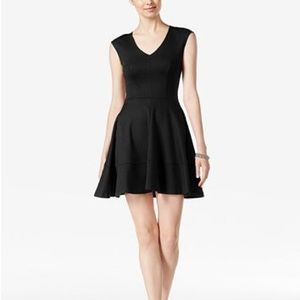 Bar III Fit & Flare Cap Sleeve V Neck Dress